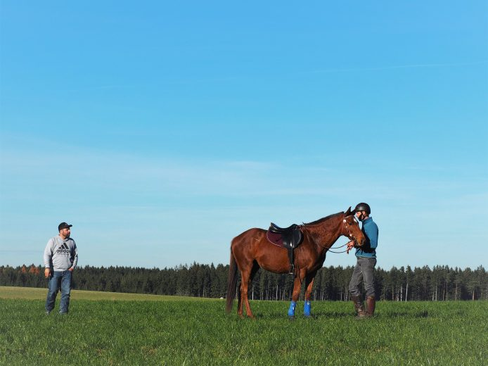 Trainer und Reitschüler mit Pferd auf Gras